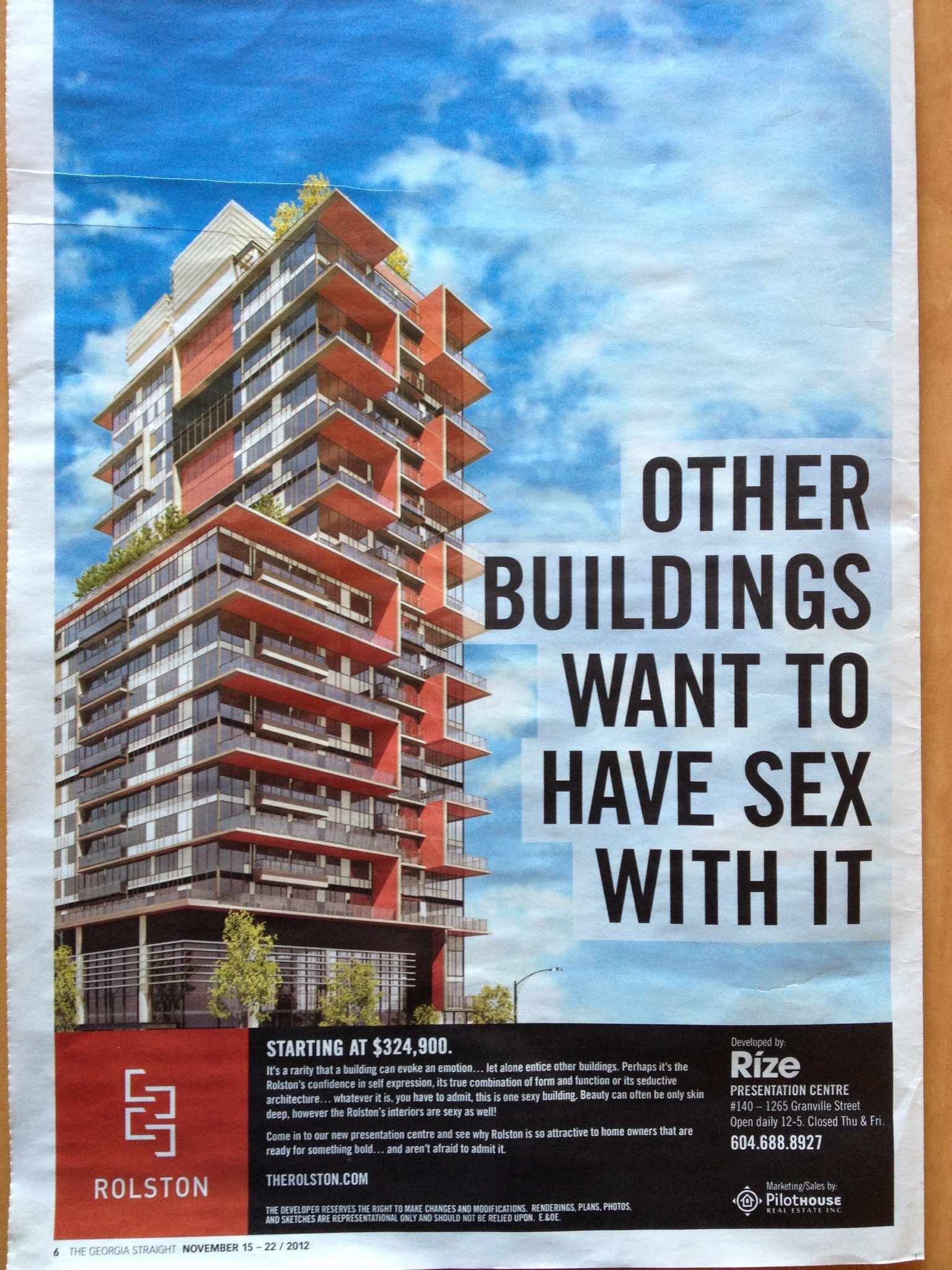 Sexy building design, provocative advertising