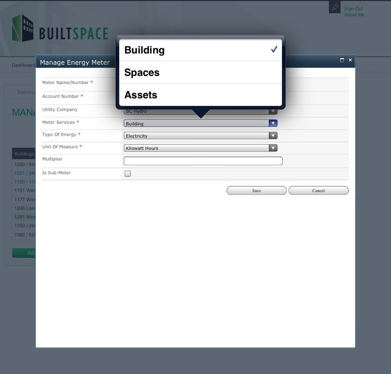 Creating an end point for integration of energy data into BuiltSpace.