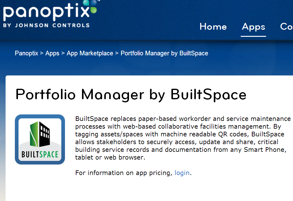BuiltSpace now available on the Johnson Controls Panoptix